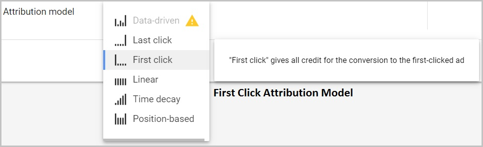 first click attribution model