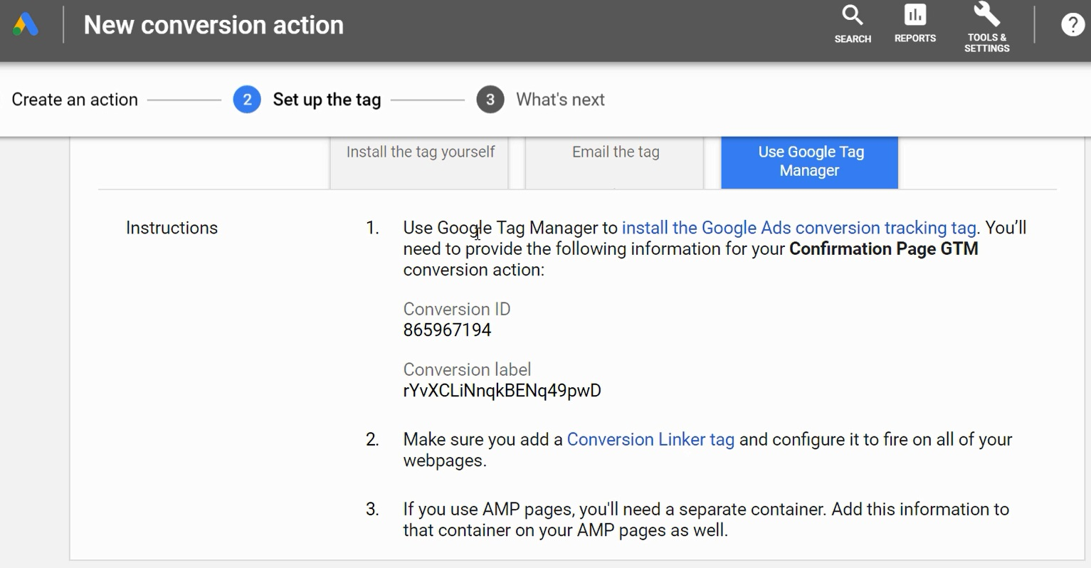 follow google tag manager directions