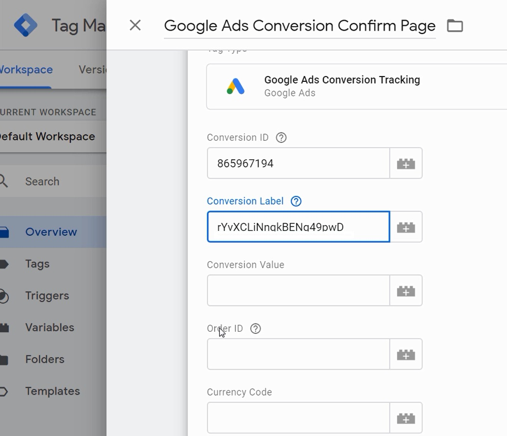 google ads conversion in google tag manager