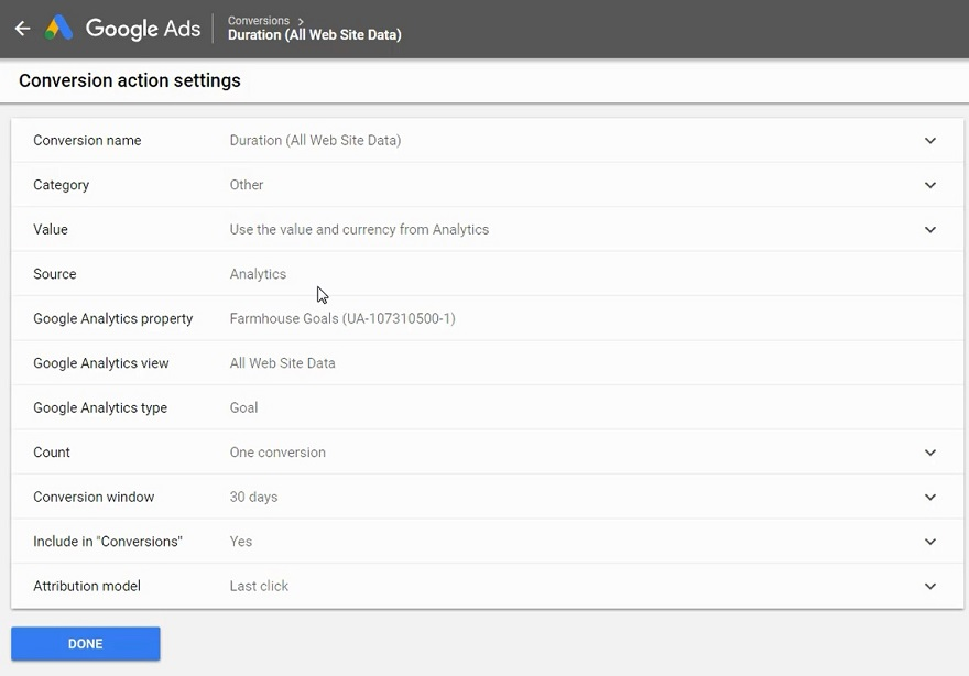 google ads conversion tracking settings
