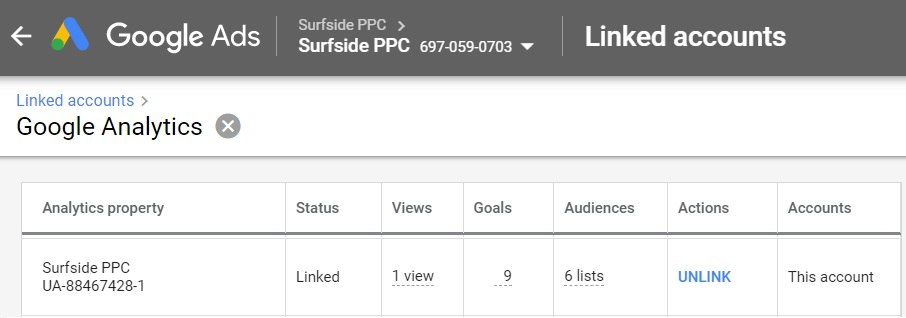 google ads linked accounts google analytics