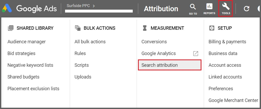 google ads search attribution