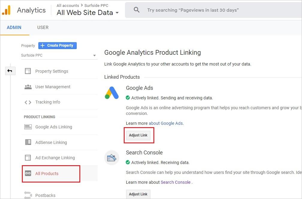 google analytics linked accounts