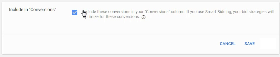 include in conversions column