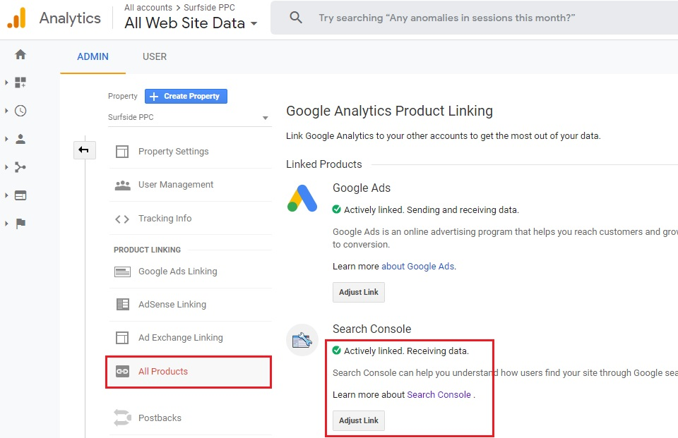 link using google analytics