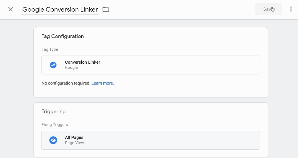 set the conversion linker tag to fire on all pages