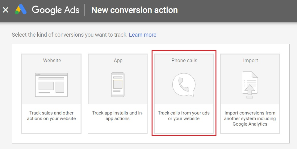 new conversion action in google ads for phone calls
