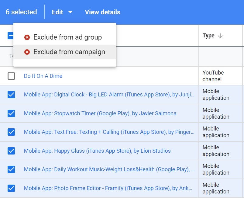 select mobile app placements to exclude