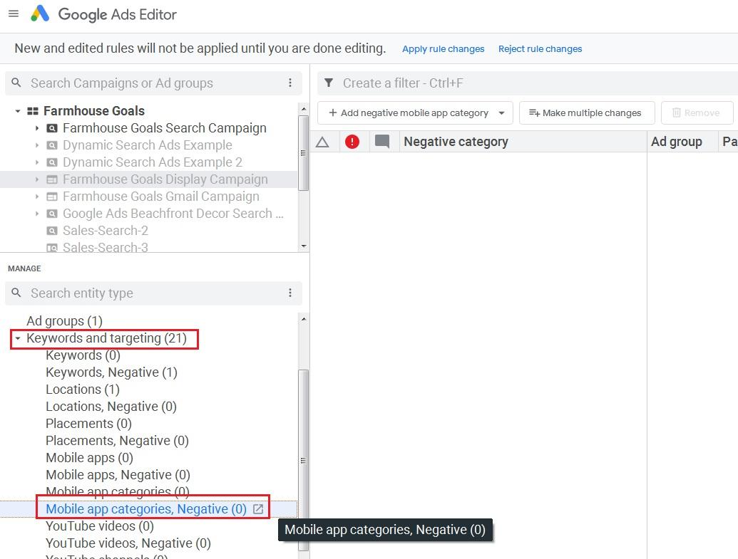 click on mobile app categories negative in google ads editor