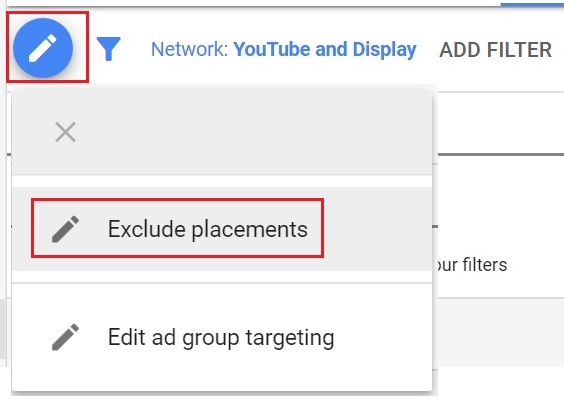 Click to add excluded placements