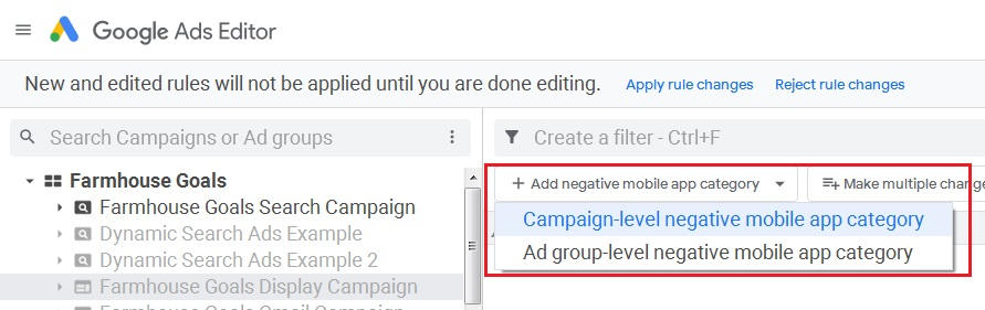 add campaign level mobile app categories to exclusions