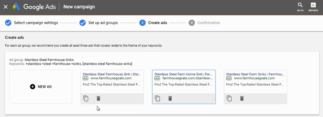 create 2-3 ads per ad group google ads