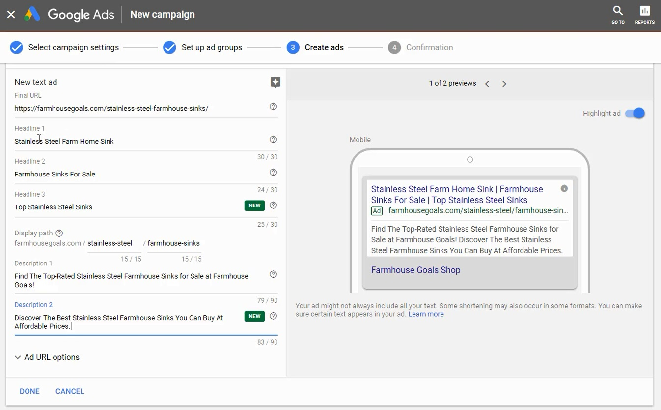fill out all fields for google expanded text ads