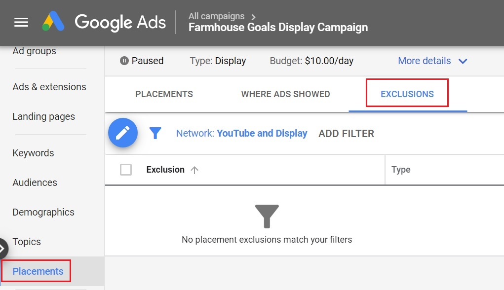 google display ads placement exclusions