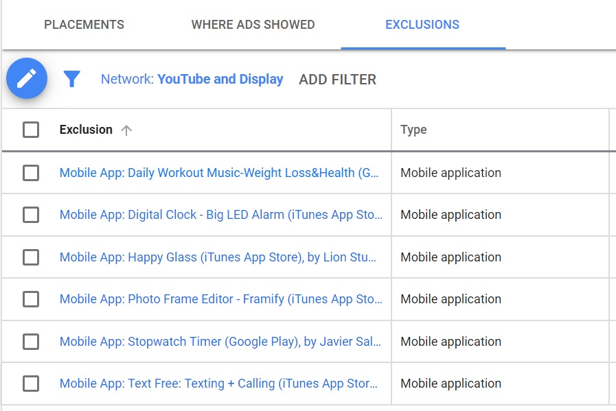 mobile apps in exclusions