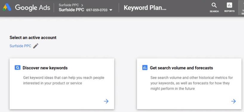 Discover new keywords keyword planner