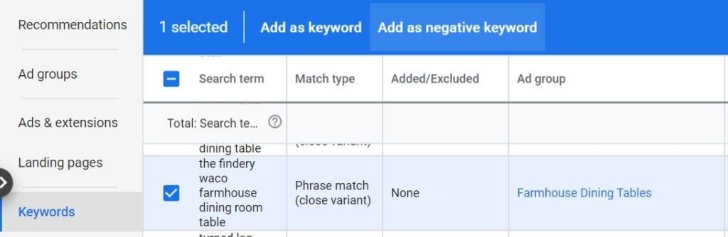 add as negative keyword