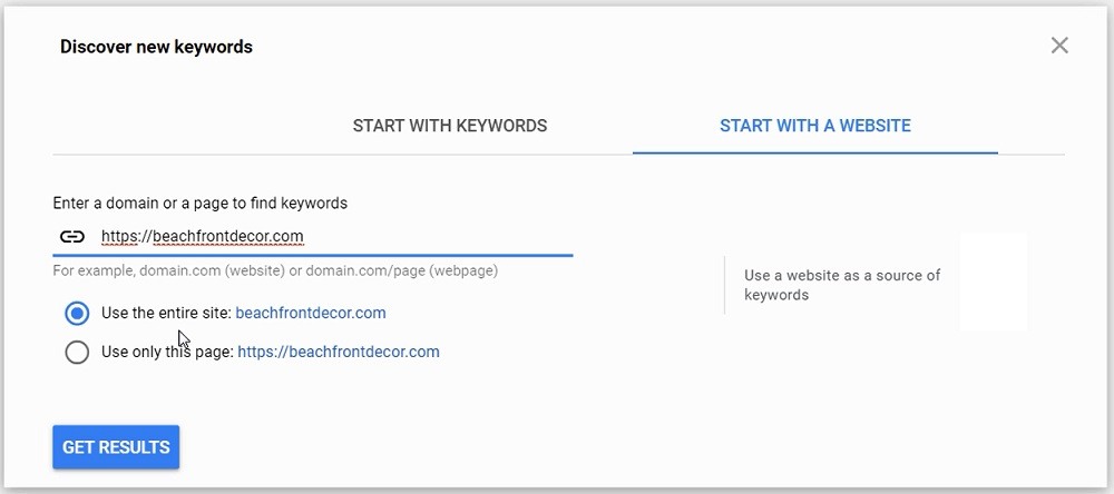 start with a website keyword planner