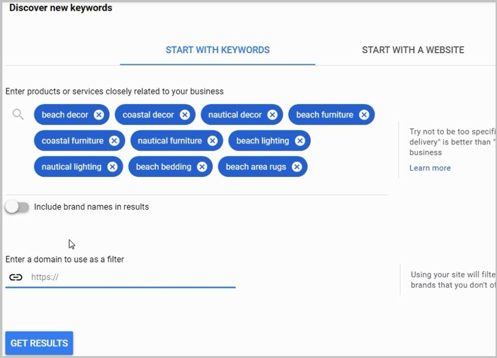 start with keywords keyword planner