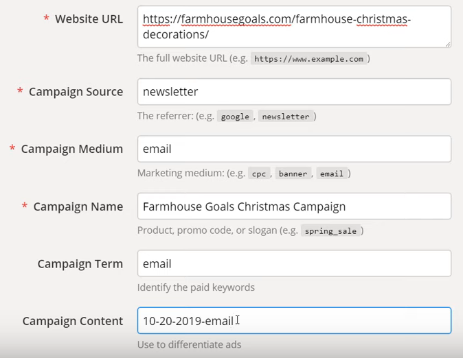 setting url utm parameters campaign url builder google analytics