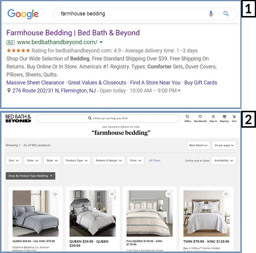 landing page match keywords