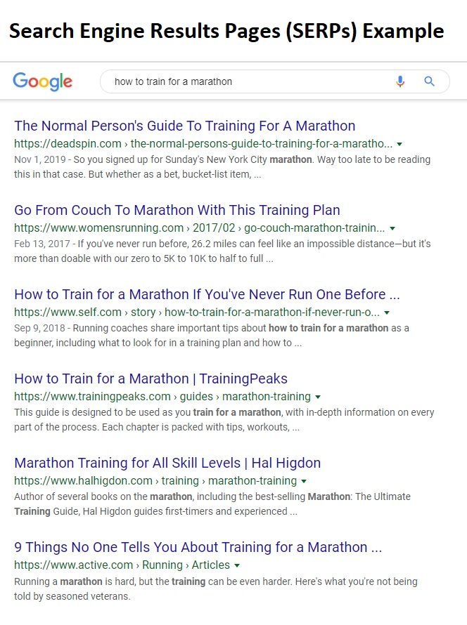 search engine results pages serps example