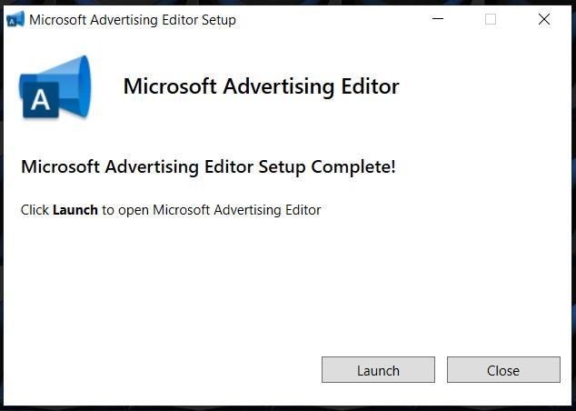 launch microsoft advertising editor