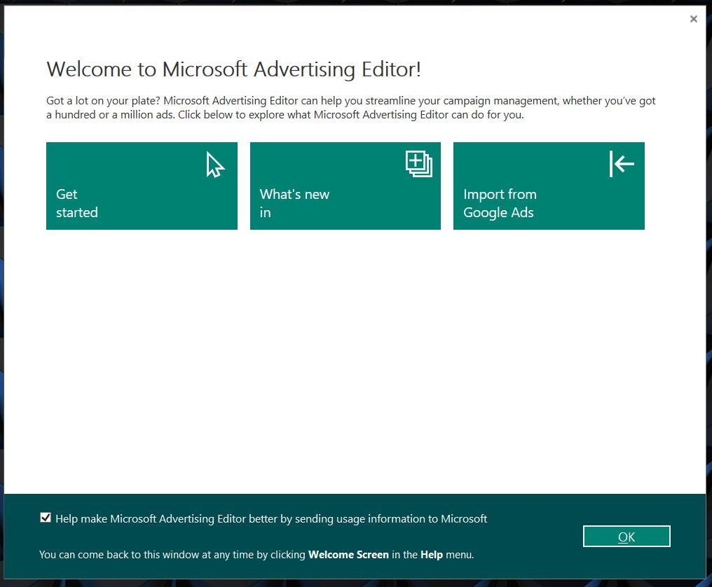 2 get started microsoft ads editor