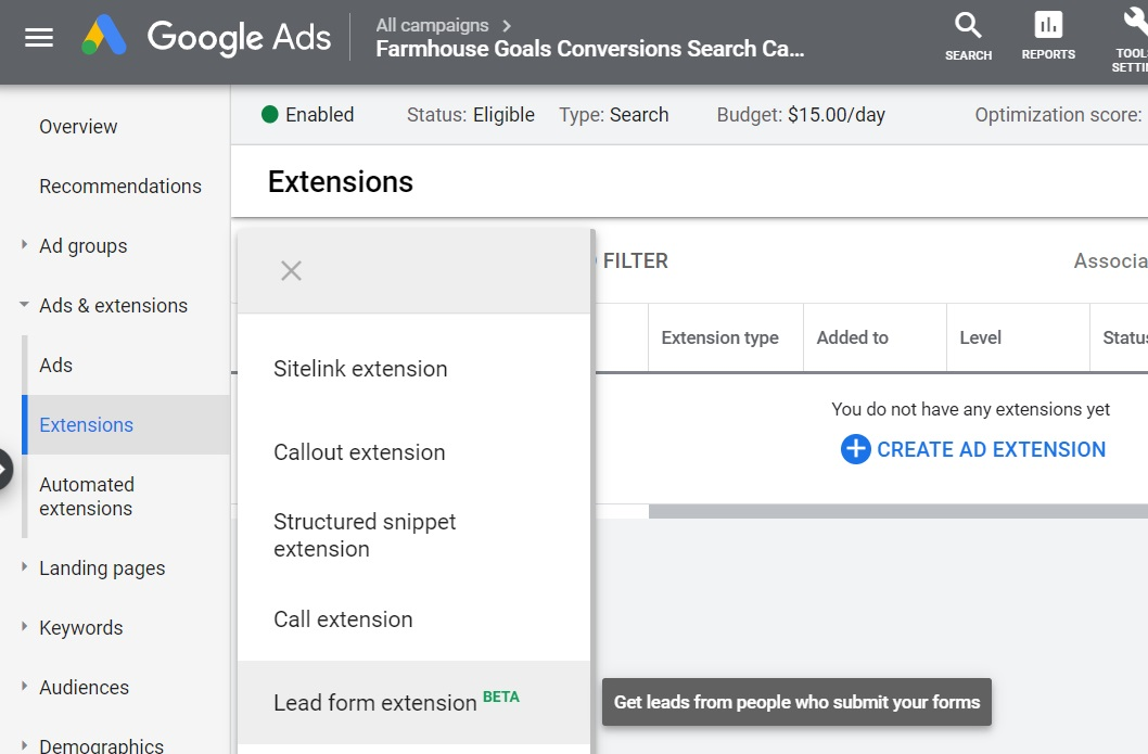 3 click on lead form extensions