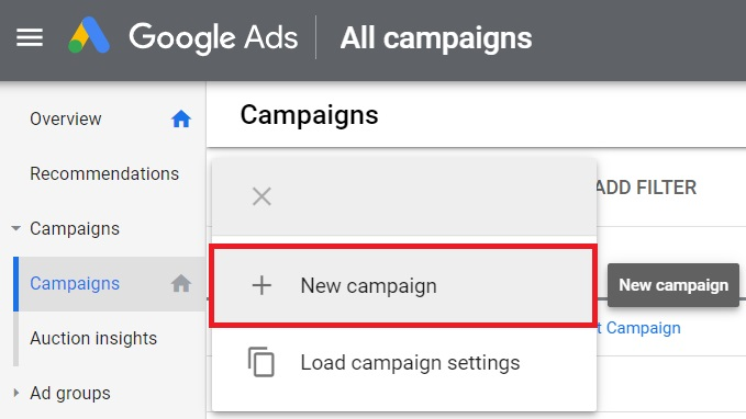 3 create new google ads campaign