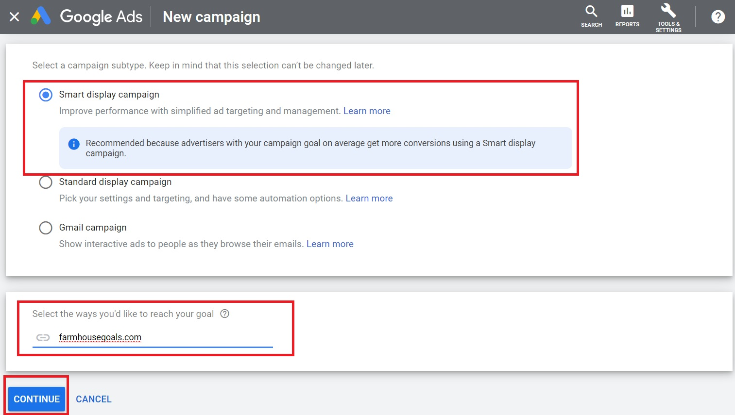4. Choose smart display campaign enter website click continue