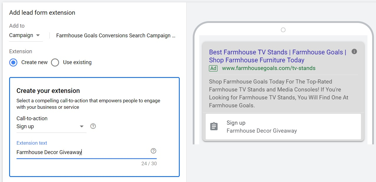 5 create your extension to add lead forms to your google ads