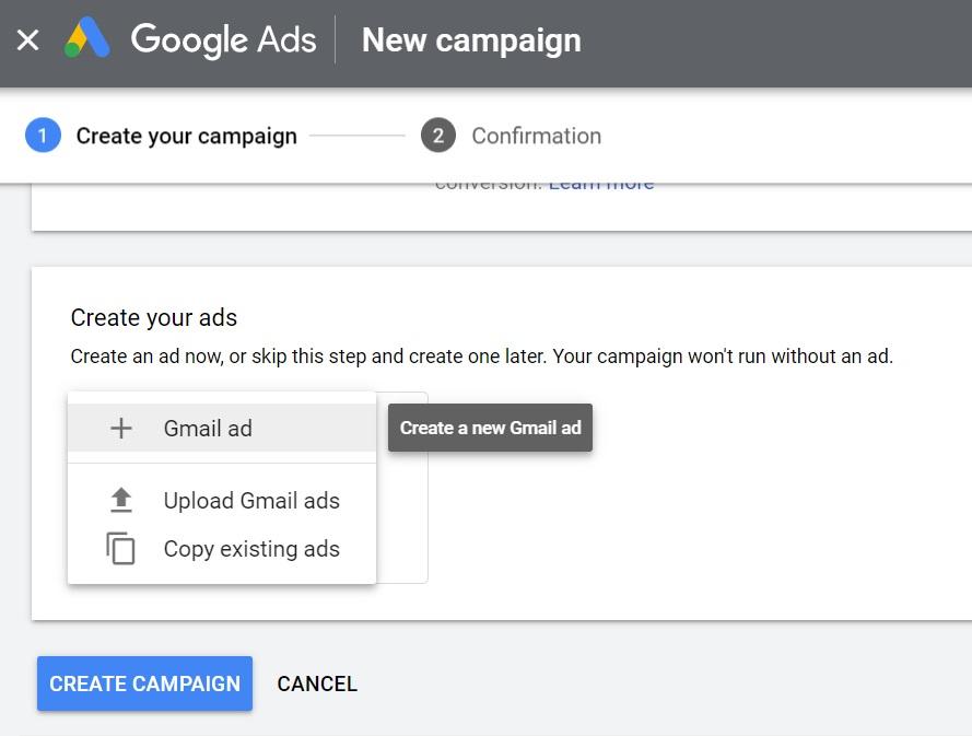 Create Gmail Ad