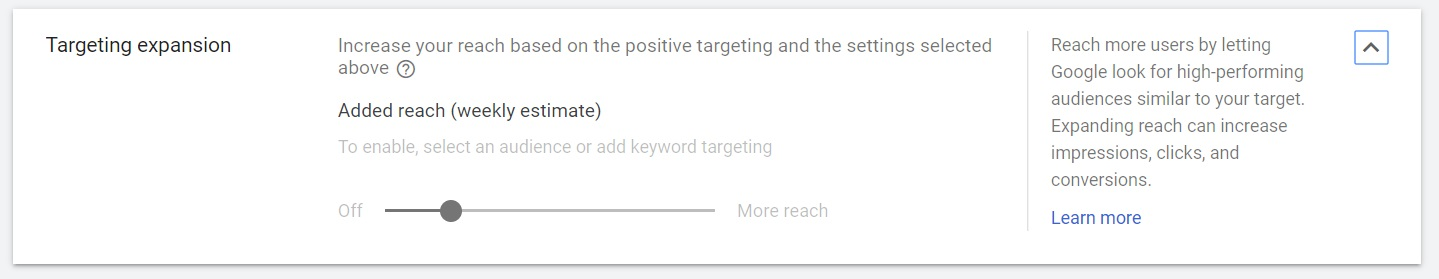 set your targeting expansion for your google display ads