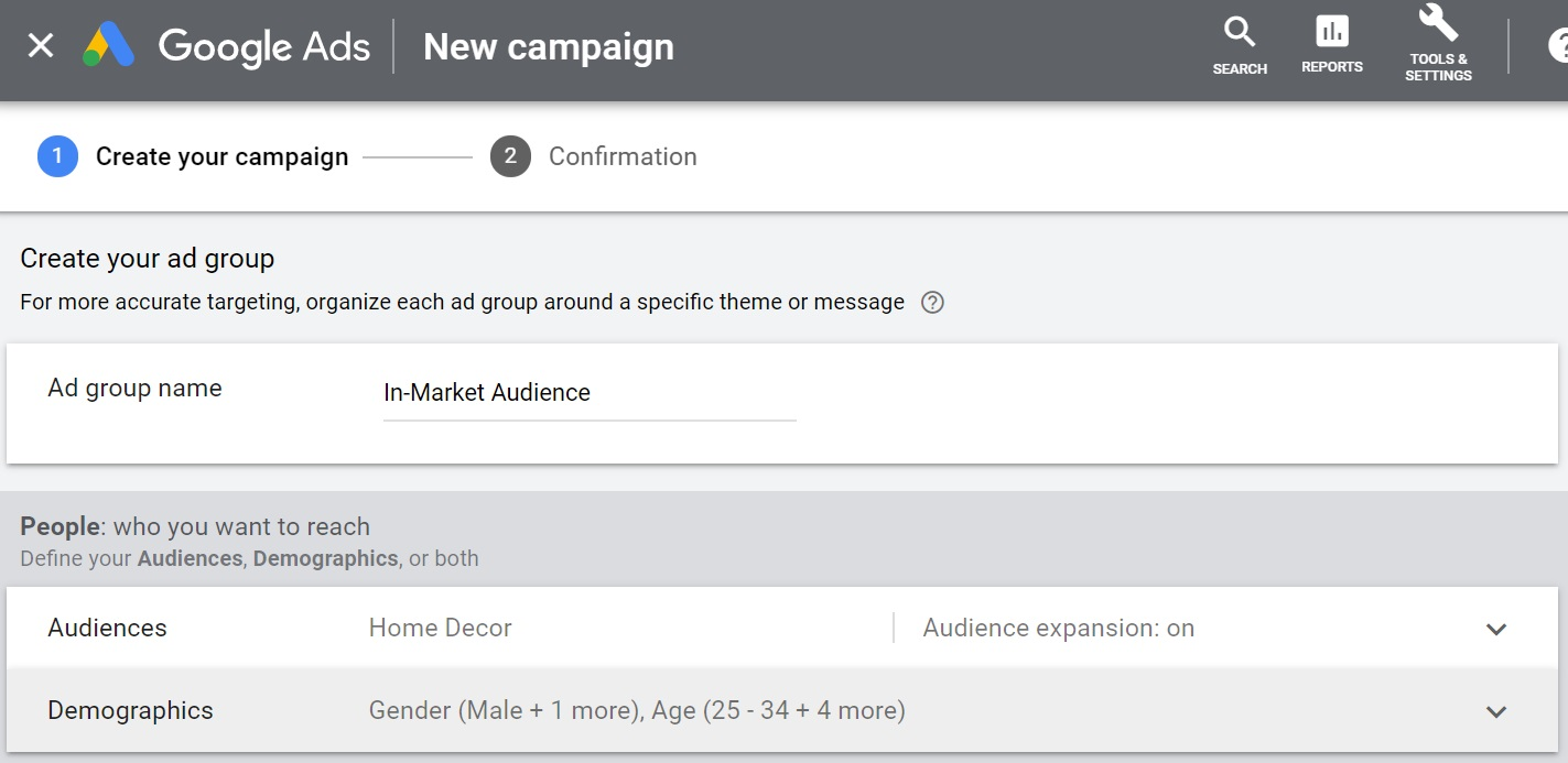 name your ad group and set targeting