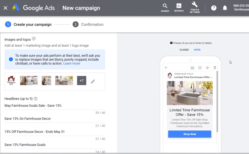 create your google ads discovery ad