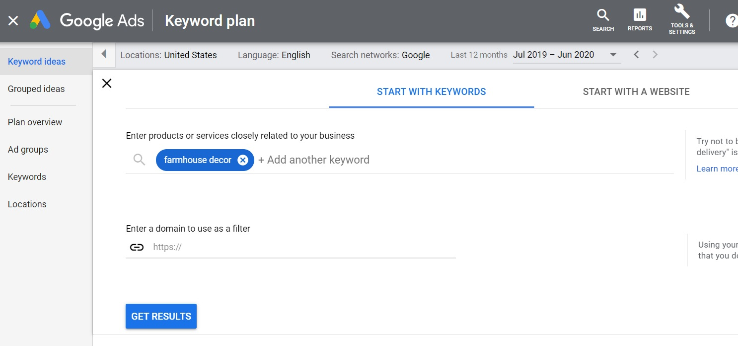 enter keywords based on your products and services