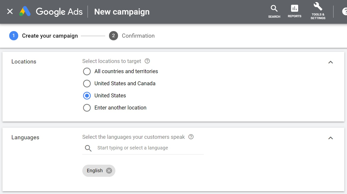 set your location and language targeting