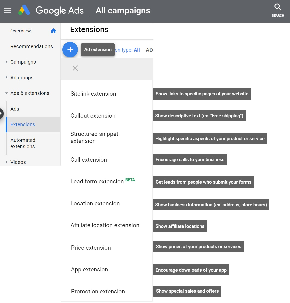 add google ad extensions to campaign