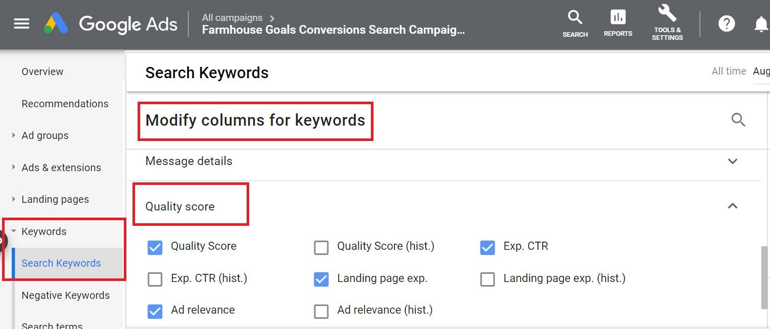 add quality score metrics to google ads columns