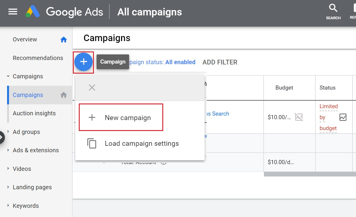 create new google ads discovery campaign