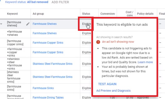 eligible to run ads candidate is not triggering google ads low ad rank