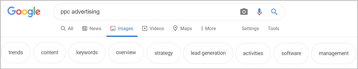 google search tabs images news keyword research